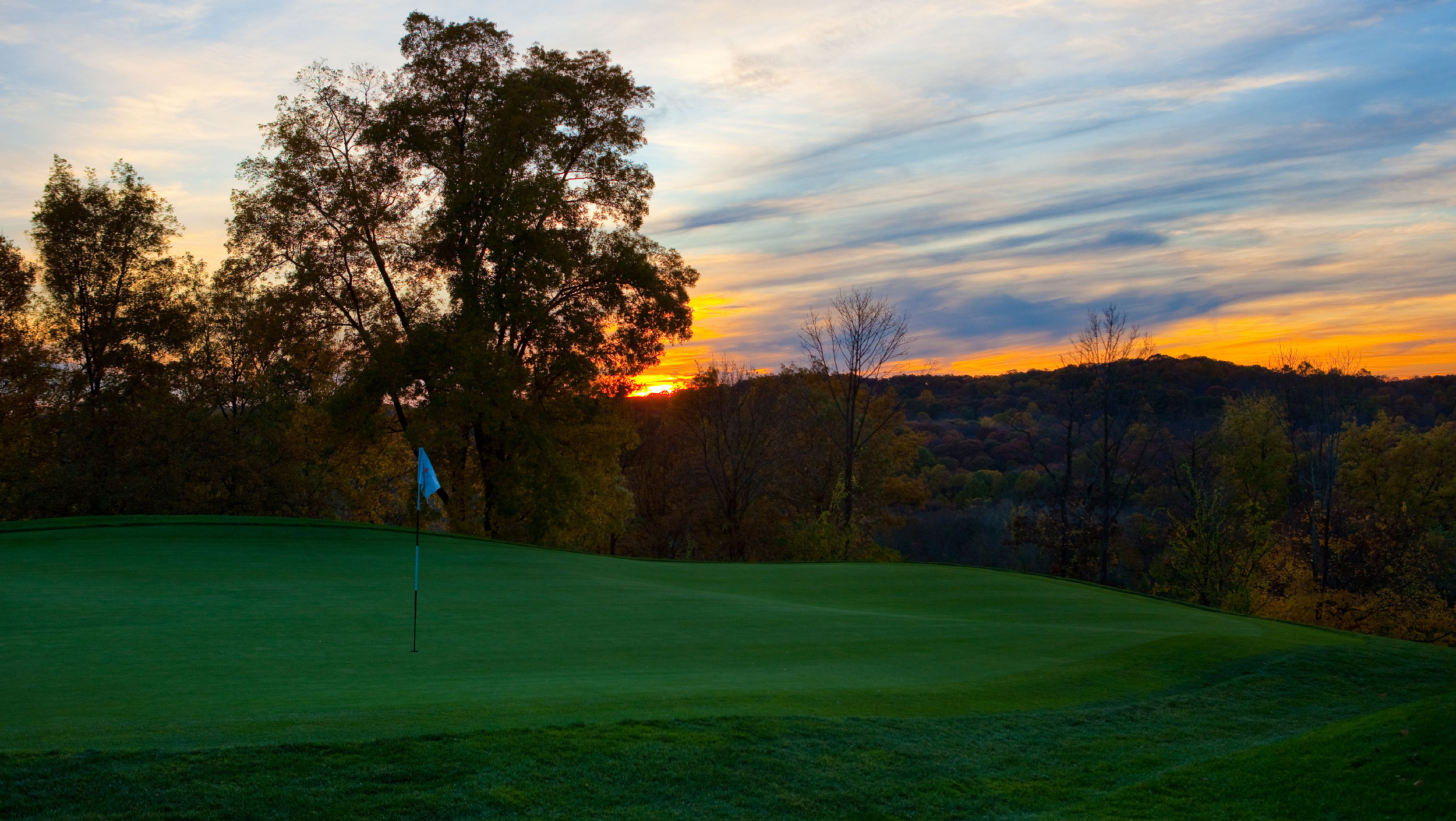 Sunset over the Rees Jones golf course, Westchester County