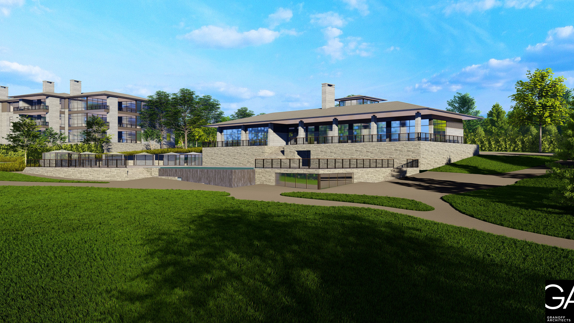 The Summit Club, clubhouse rendering, Westchester