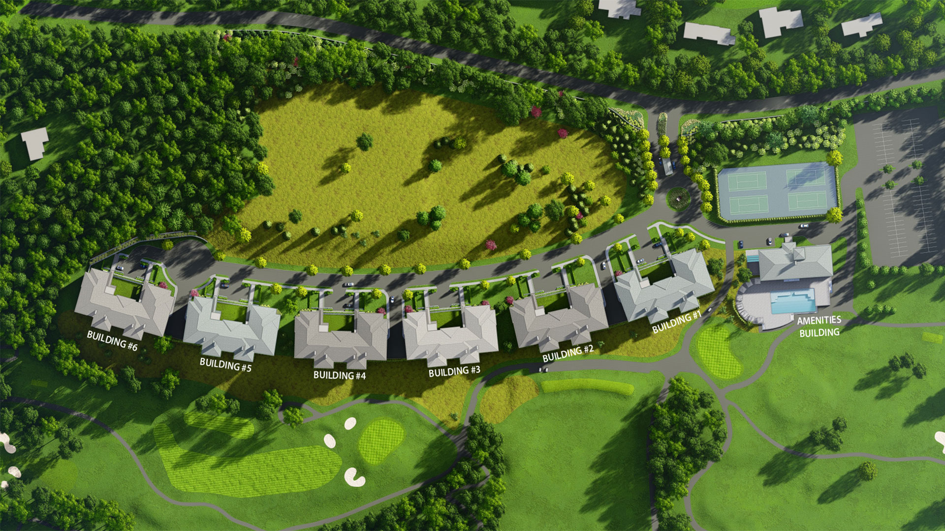 Aerial view of residences and clubhouse at The Summit Club, Westchester, NY