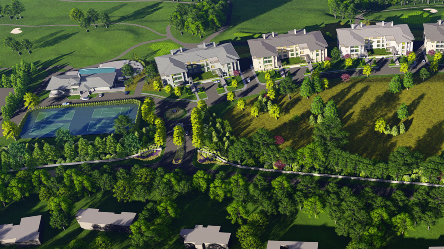 New Residences and tennis courts at The Summit Club, Westchester County