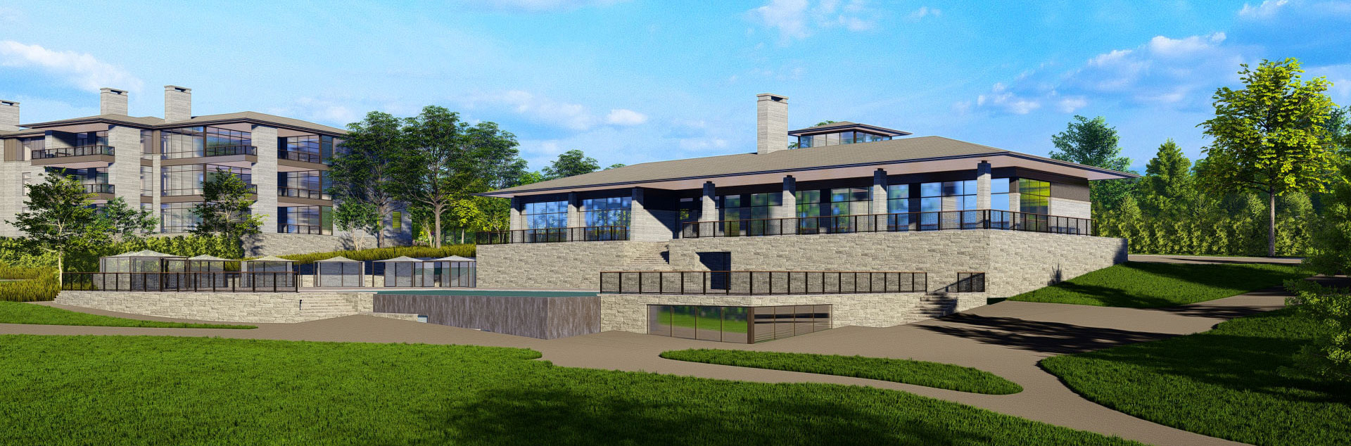 The Summit Club, clubhouse rendering, Westchester County